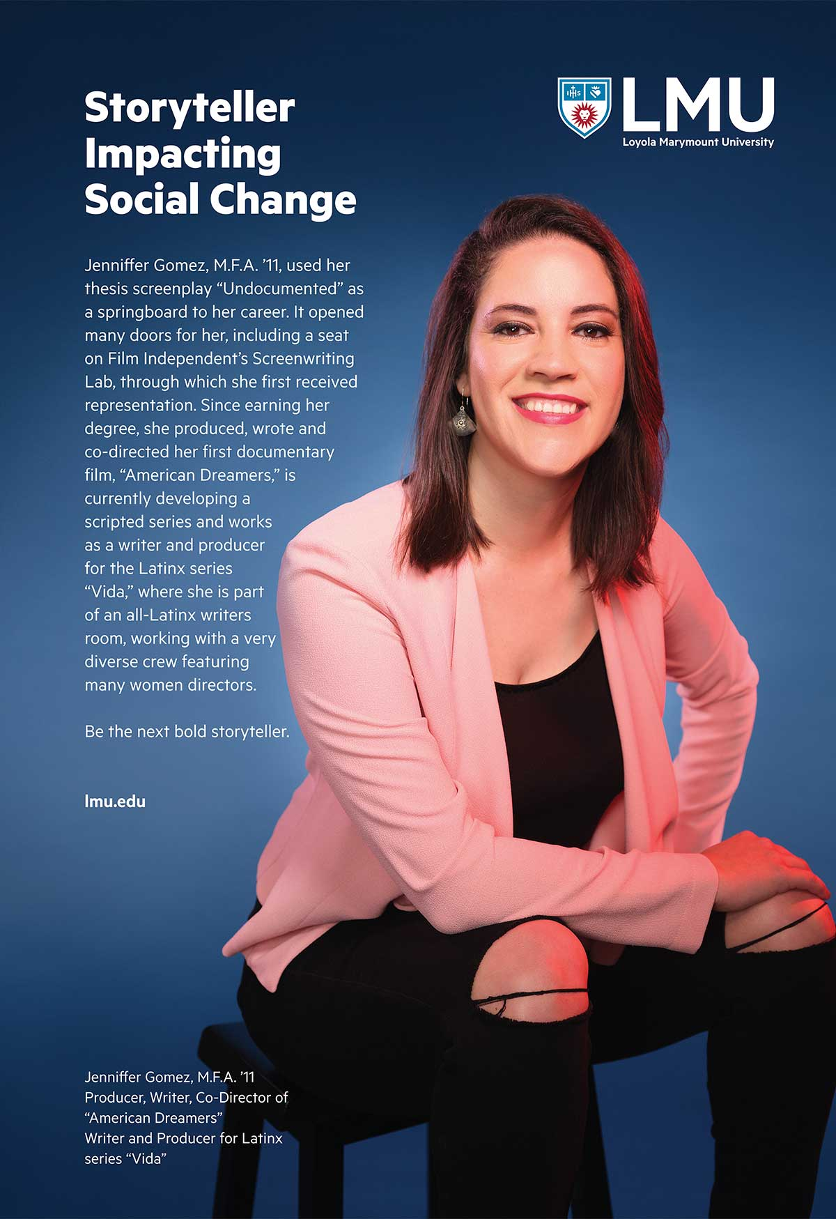 Advertisement featuring Jennifer Gomez with the words Storyteller Impacting Social Change
