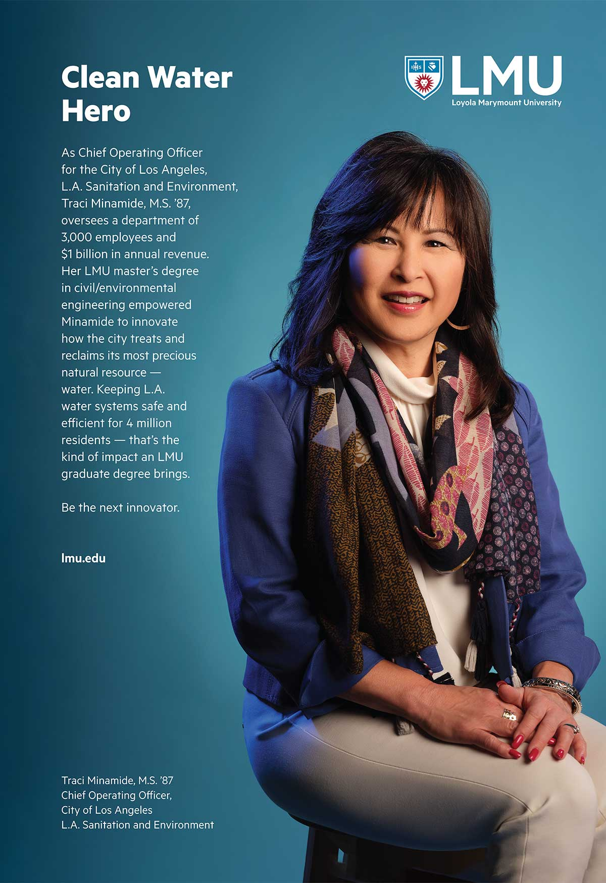 Advertisement featuring Traci Minamide with the words Clean Water Hero