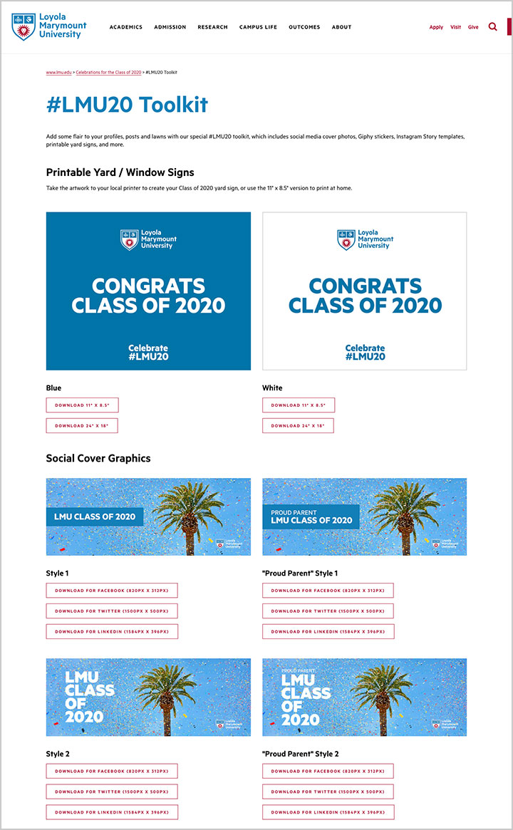 A screenshot of the Celebrate LMU20 website social media toolkit