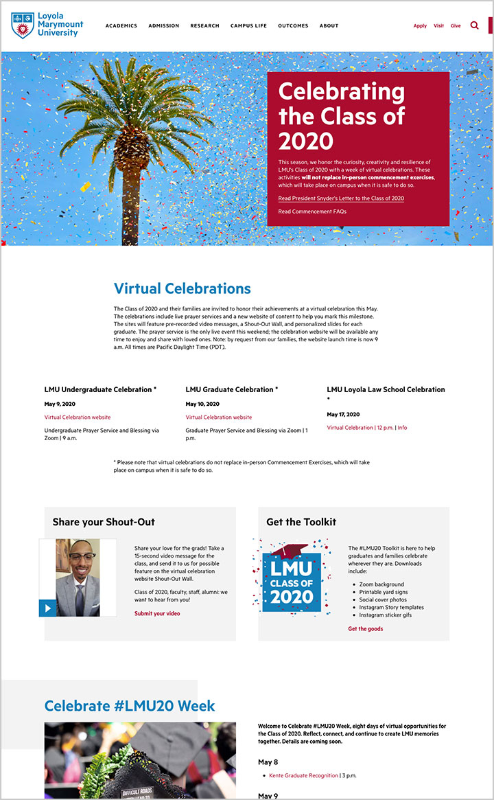 A screenshot of the Celebrate LMU20 website