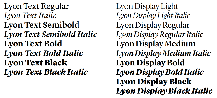 Lyon and Lyon Display typeface weights