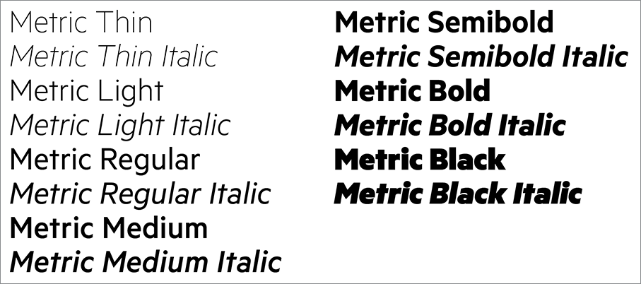 Metric typeface weights