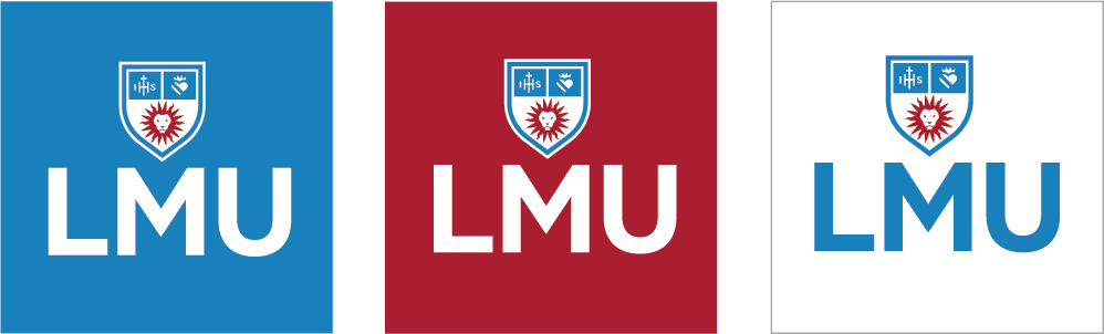 Social Primary Icons with the LMU Acronym and LMU Shield over white, LMU Blue and LMU Crimson backgrounds