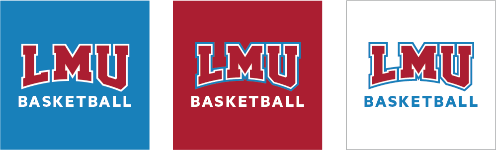 Social Athletics Icons with one long word over white, LMU Blue and LMU Crimson backgrounds