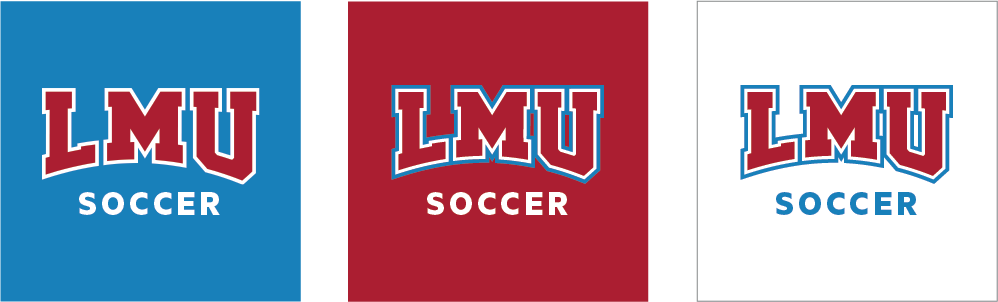 Social Athletics Icons with one short word over white, LMU Blue and LMU Crimson backgrounds