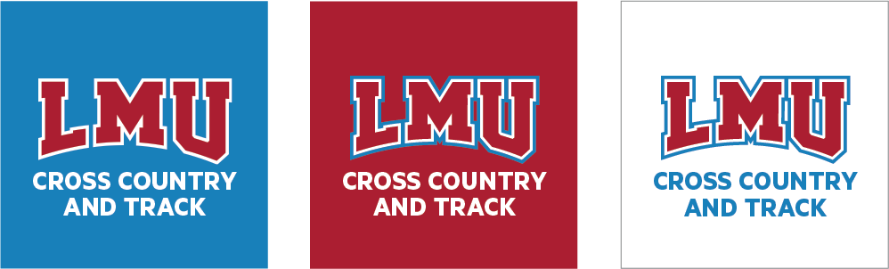 Social Athletics Icons with two lines over white, LMU Blue and LMU Crimson backgrounds
