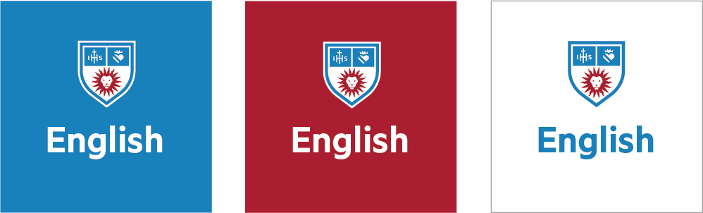 Social Department Shield Icons with one long word over white, LMU Blue and LMU Crimson backgrounds