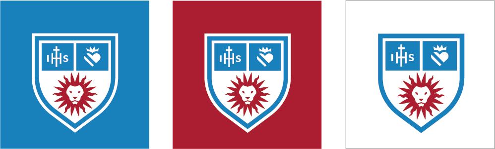 Social Department Shield Icons over white, LMU Blue and LMU Crimson backgrounds